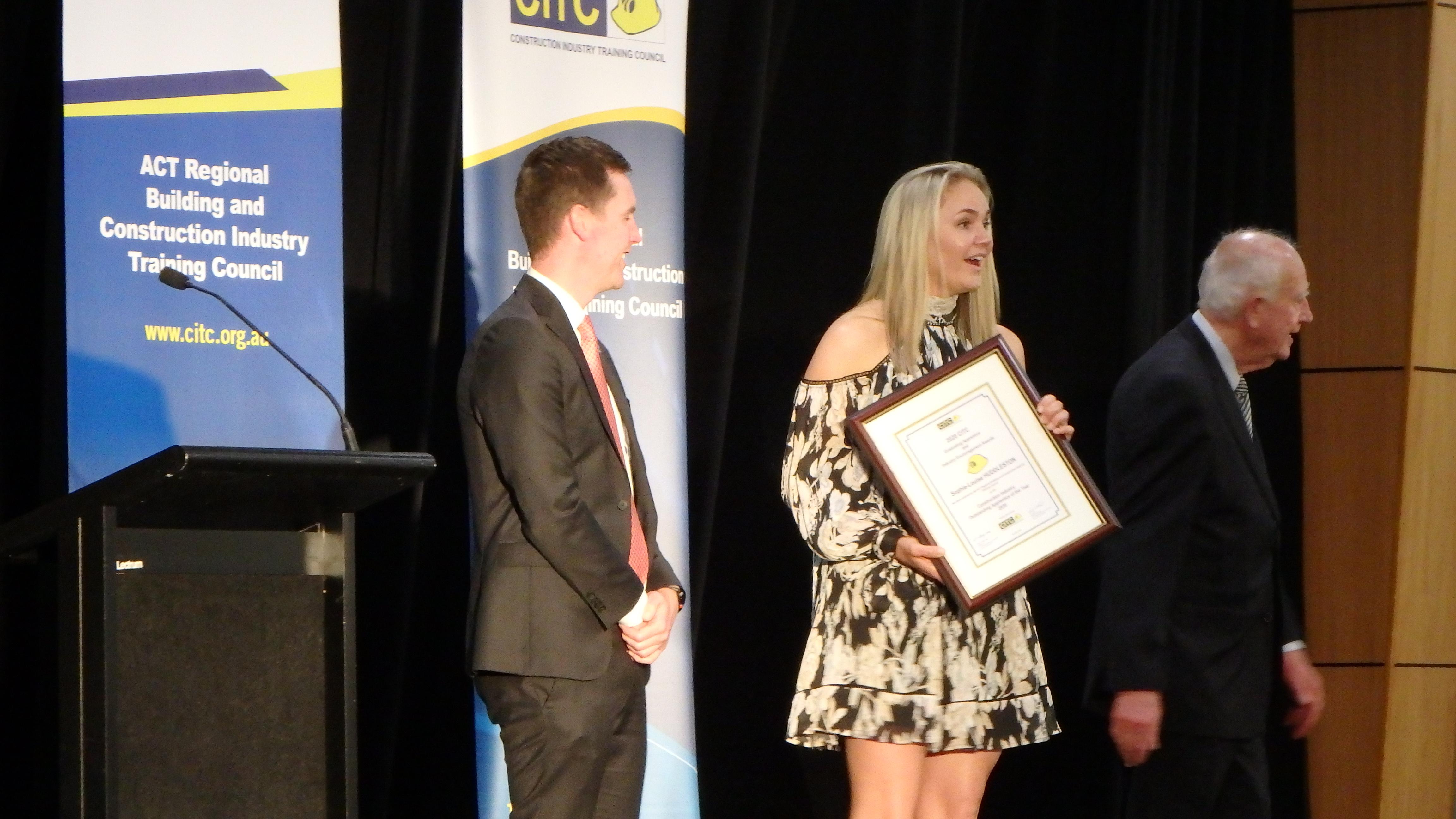 Sophie-Louise Huddleston winner of 2020 Award